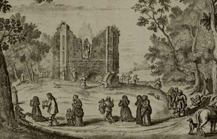 <p>Bedevaartgangers bij Onze Lieve Vrouw ter Nood te Heiloo (ca. 1650)</p>