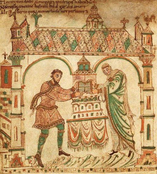 <p>Dedicatieminiatuur uit het Evangeliarium van Egmond (ca. 975).<br />Graaf Dirk II en zijn echtgenote Hildegarde leggen het evangelieboek op het altaar van de eerste stenen abdijkerk van Egmond.<br />Koninkllijke Bibliotheek, Den Haag.</p>