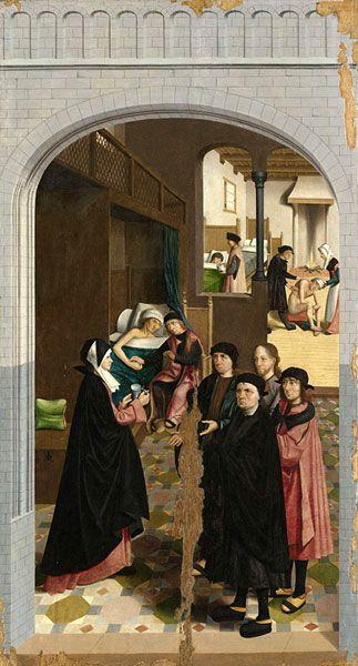 <p>Zesde paneel van de Zeven Werken van Barmhartigheid door de Meester van Alkmaar (1504): De zieken bezoeken. <br />Rijksmuseum, Amsterdam</p>