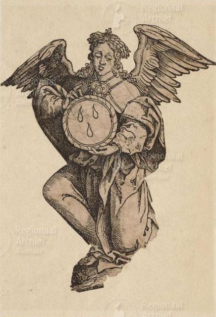 <p>Zilveren engel waarin het Heilig Bloed in de S. Laurenskerk is bewaard geweest<br /> Een reliekschrijn in de vorm van een engel met een schildje waarop drie druppels staan afgebeeld [Het mirakel van Alkmaar 1429]. Datering ca. 1550.<br />Collectie Regionaal Archief Alkmaar</p>